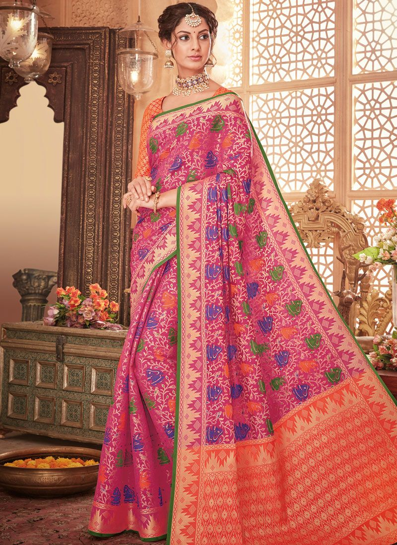 Art Silk Magenta Traditional Designer Saree