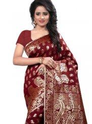 Art Silk Maroon Designer Traditional Saree