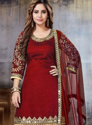Art Silk Maroon Punjabi Suit
