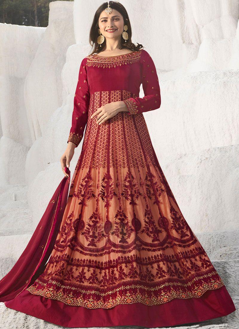d61dd9288b Art Silk Maroon Stone Work Anarkali Suit buy online -