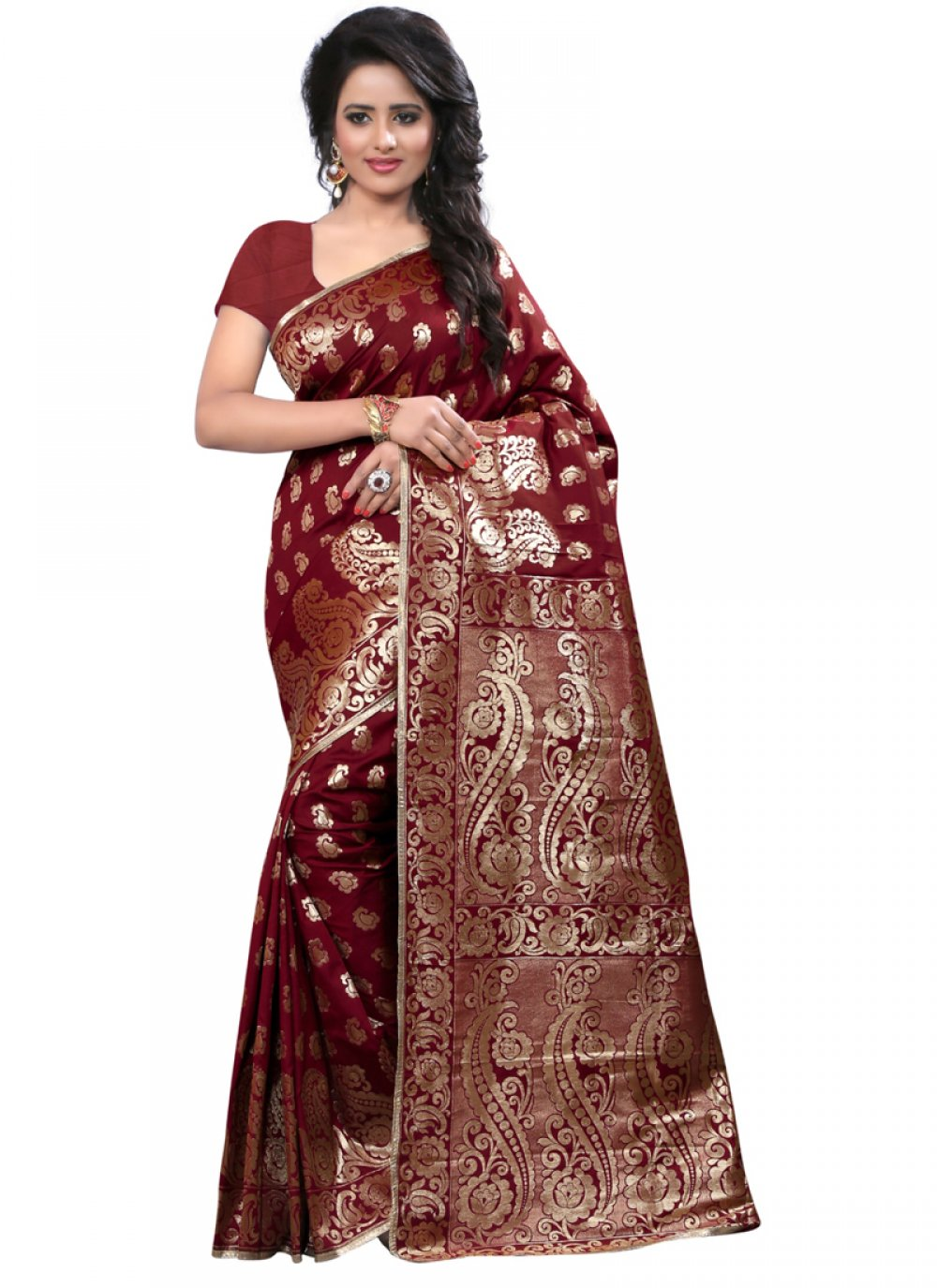 Art Silk Maroon Weaving Work Designer Traditional Saree