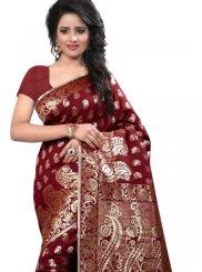 Art Silk Maroon Weaving Work Designer Traditional Saree