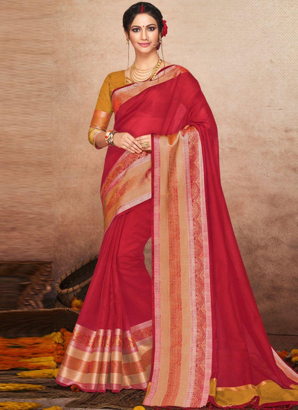 Art Silk Maroon Woven Traditional Saree