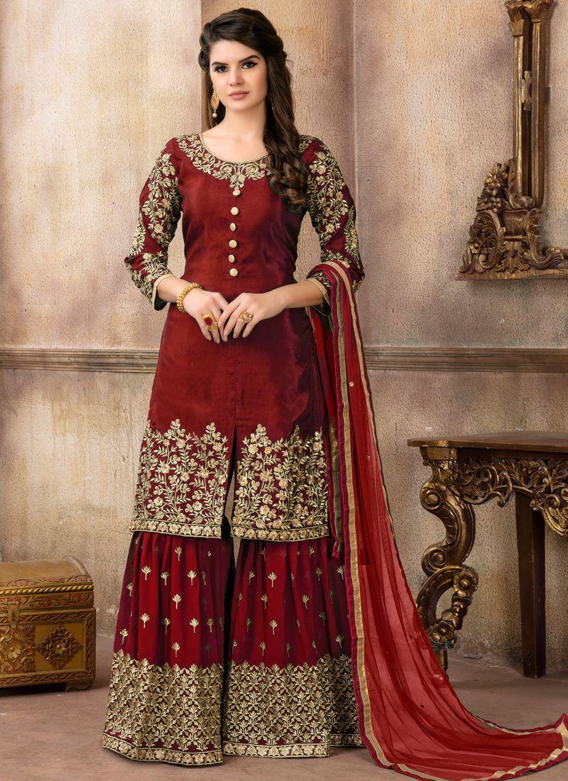 Art Silk Maroon Zari Designer Palazzo Suit