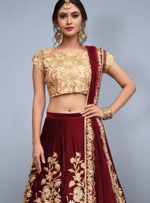 Art Silk Maroon Zari Work Lehenga Choli