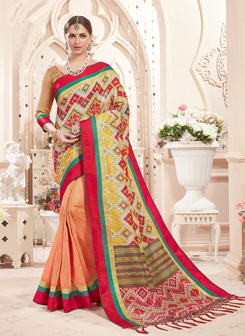 Art Silk Multi Colour and Peach Print Designer Saree