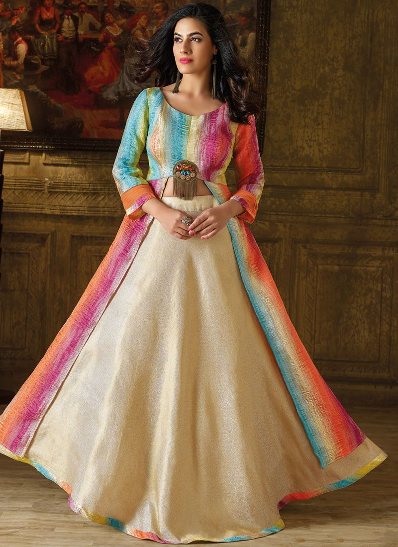 Art Silk Multi Colour Fancy Work Readymade Gown