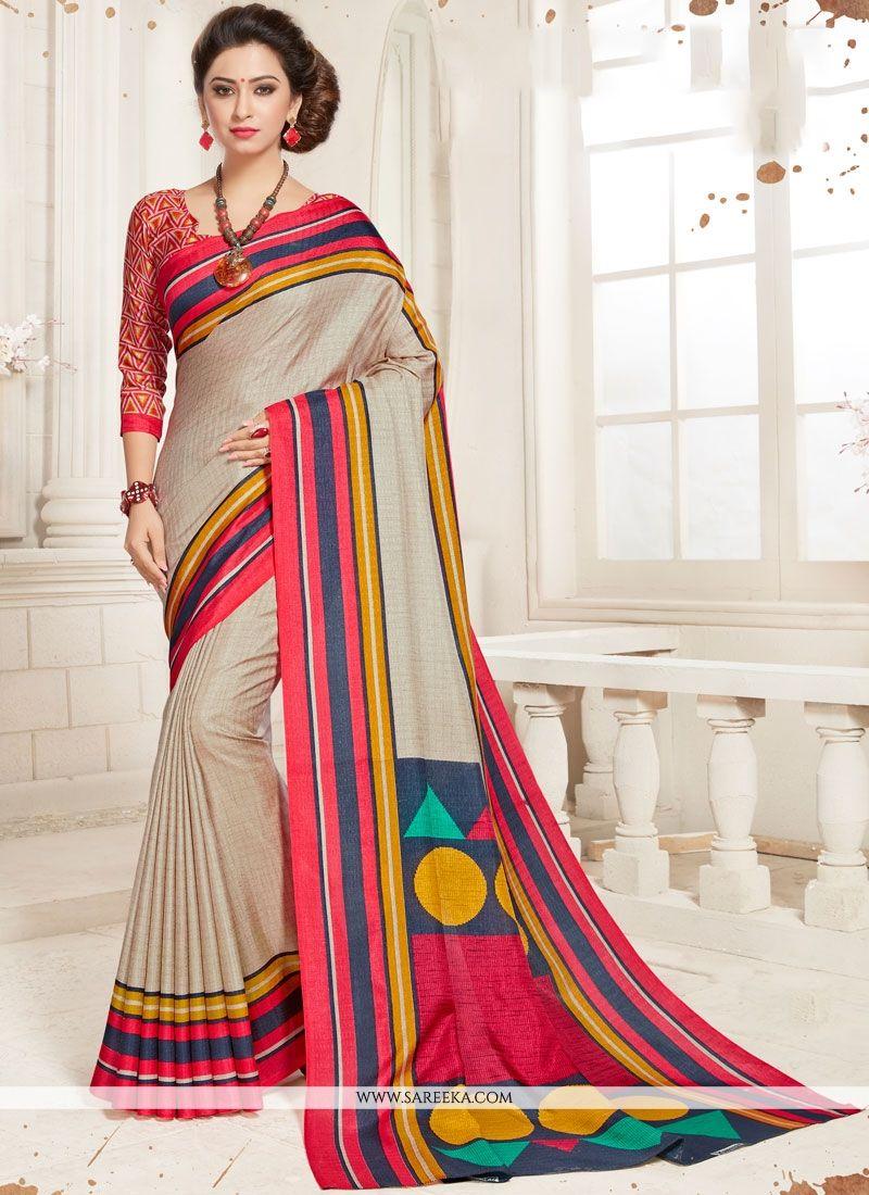 Art Silk Multi Colour Print Work Printed Saree