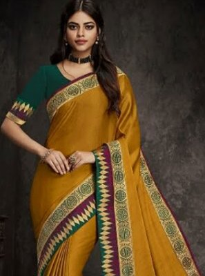 Art Silk Mustard Embroidered Traditional Designer Saree