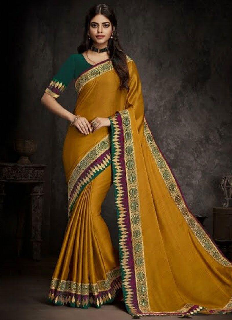 Art Silk Mustard Embroidered Traditional Designer Saree
