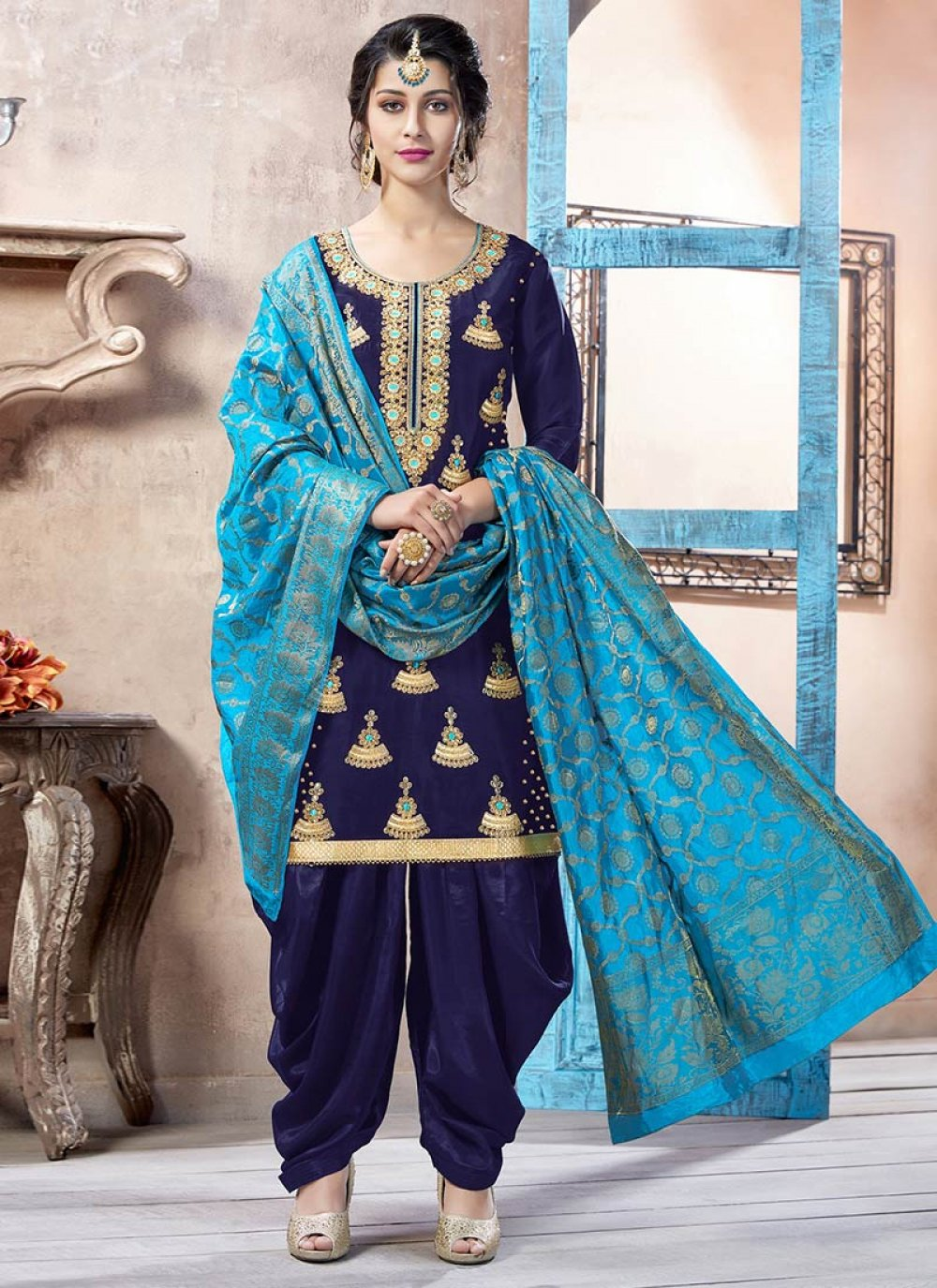 Art Silk Navy Blue Embroidered Work Punjabi Suit