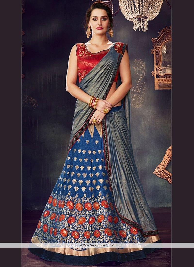 Art Silk Navy Blue Lehenga Saree