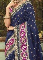 Art Silk Navy Blue Traditional Designer Saree