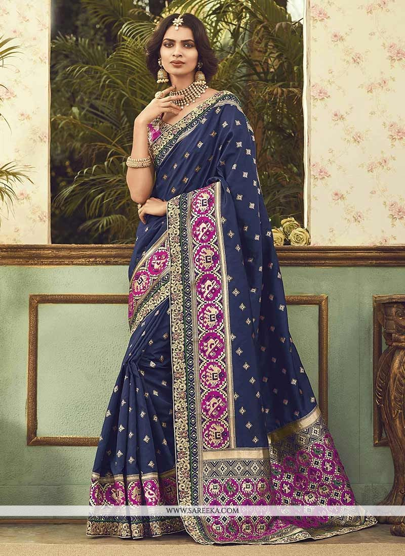Art Silk Navy Blue Traditional Designer Saree