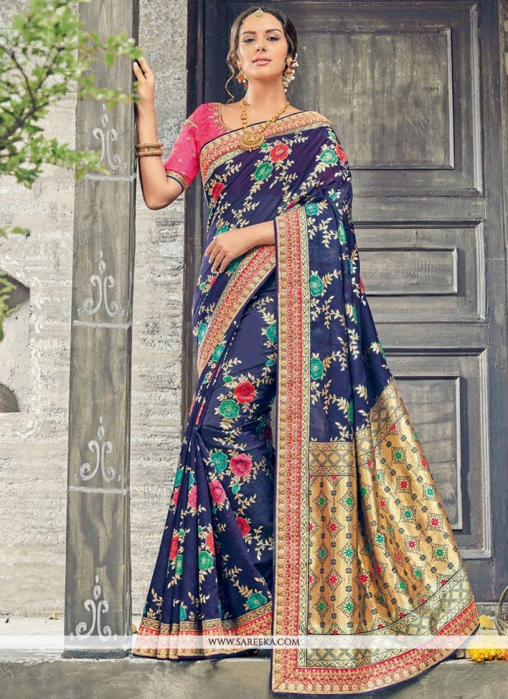 Art Silk Navy Blue Weaving Work Designer Traditional Saree