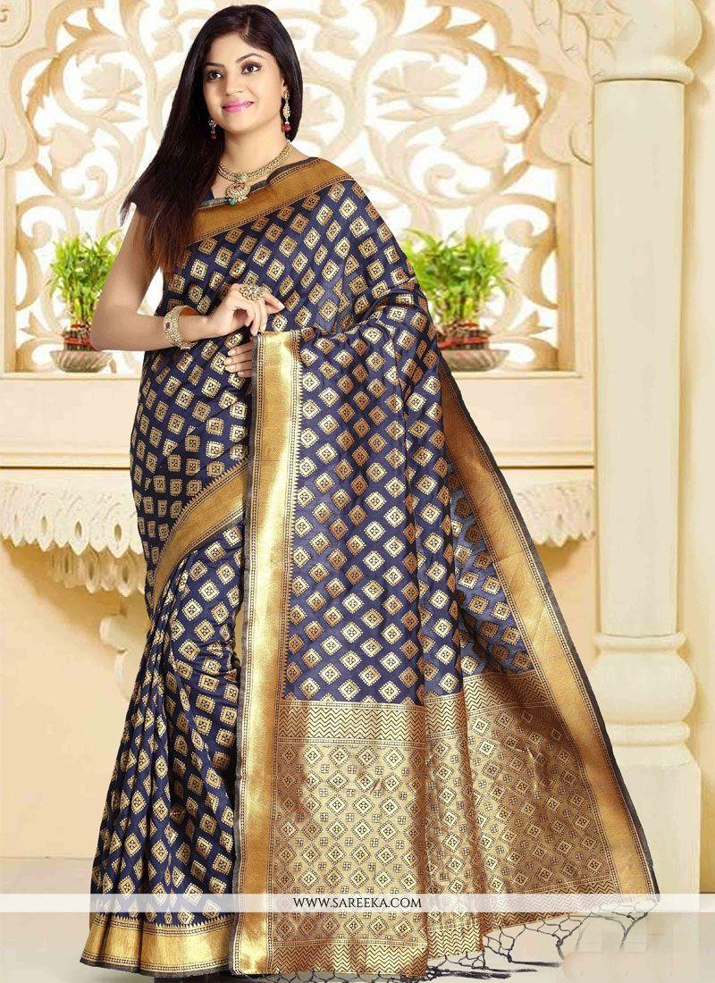Art Silk Navy Blue Weaving Work Traditional Designer Saree