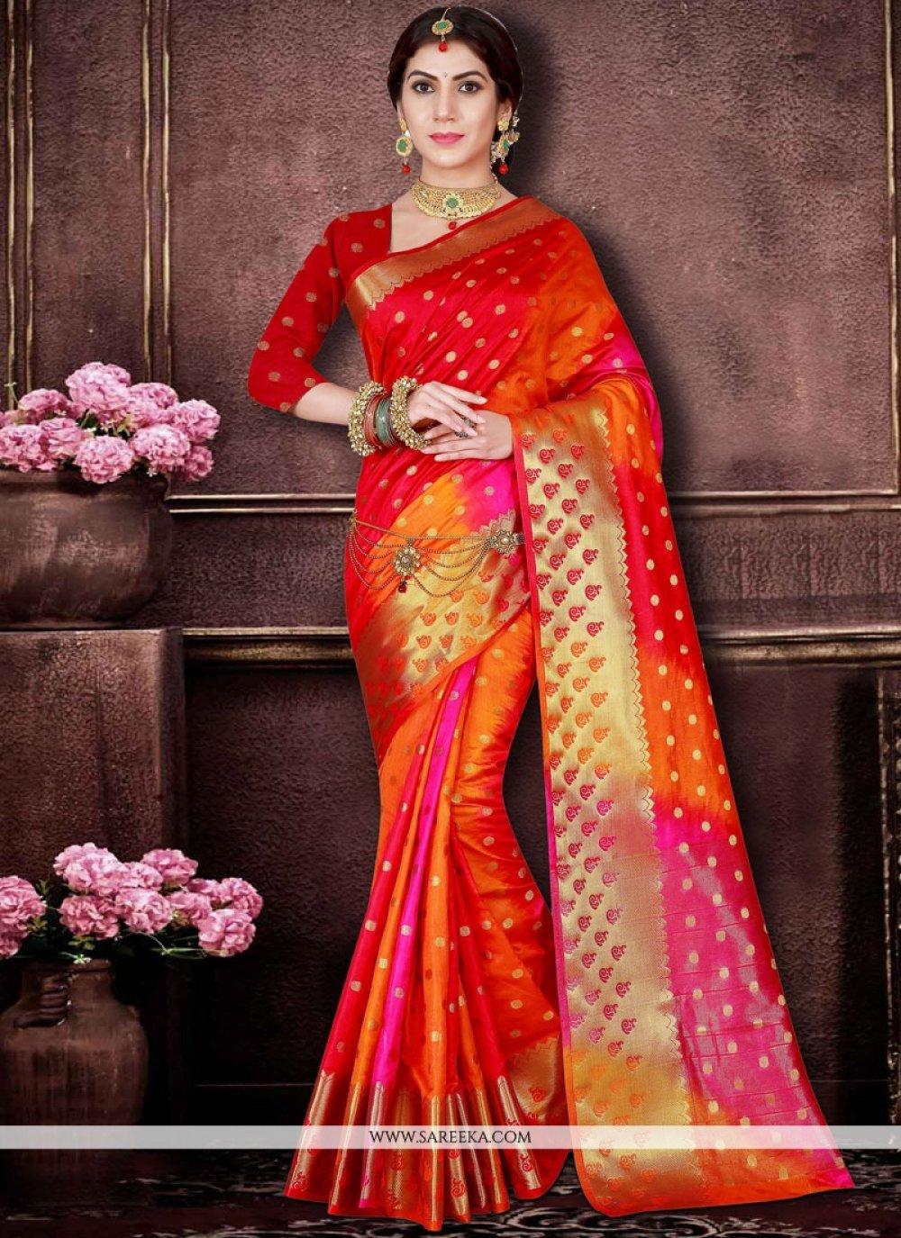 Art Silk Orange and Red Traditional  Saree