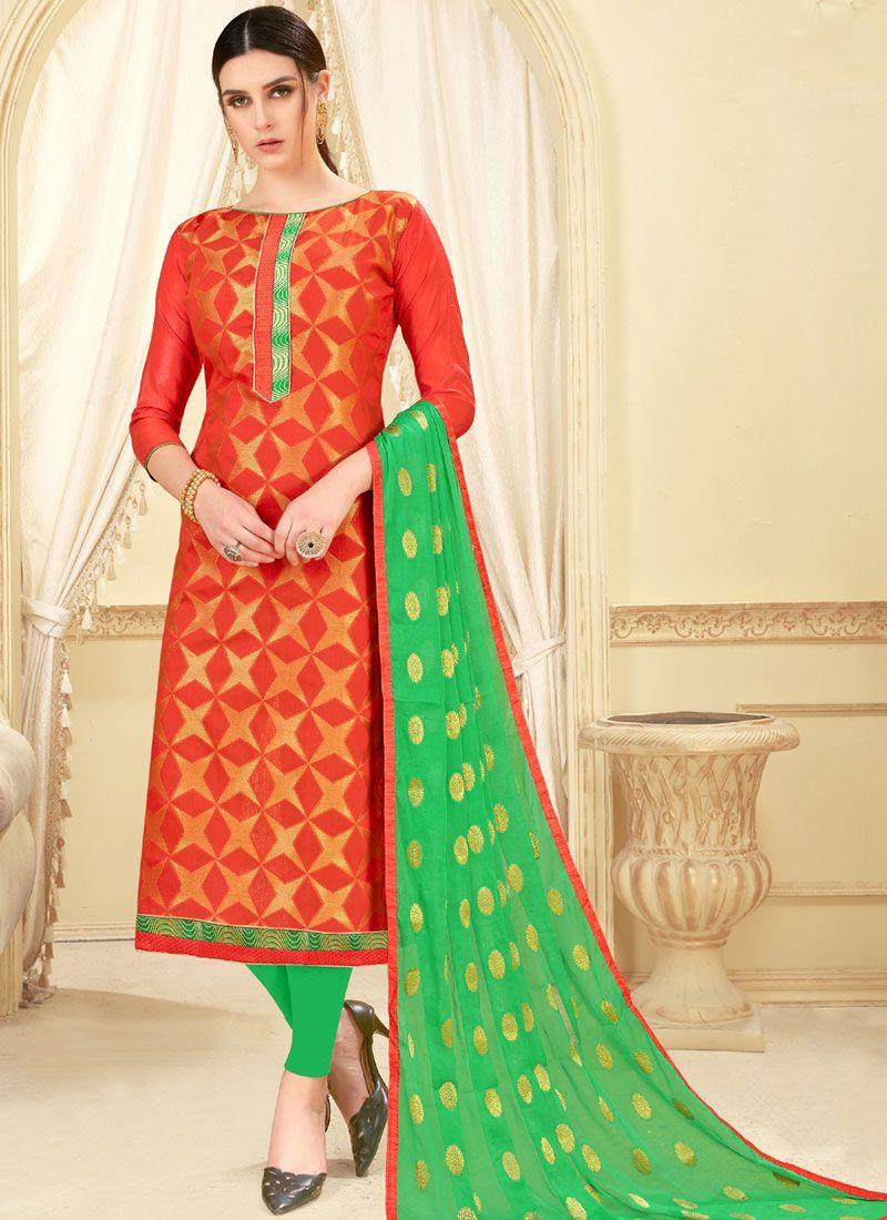 Art Silk Orange Churidar Suit