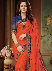Art Silk Orange Designer Traditional Saree