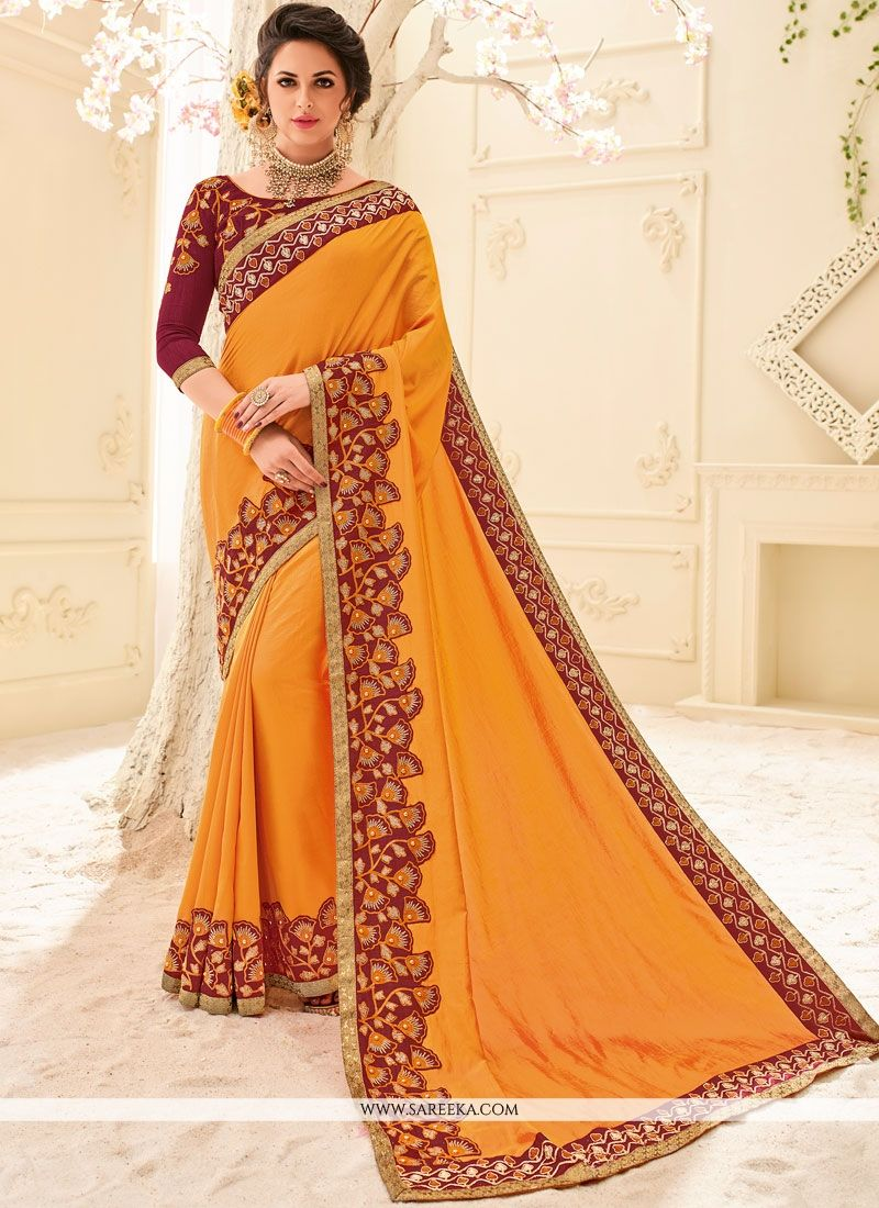 Art Silk Orange Embroidered Work Designer Traditional Saree