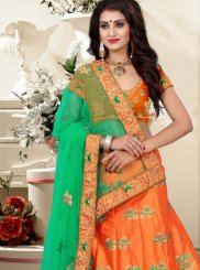 Art Silk Orange Patch Border Work Lehenga Choli