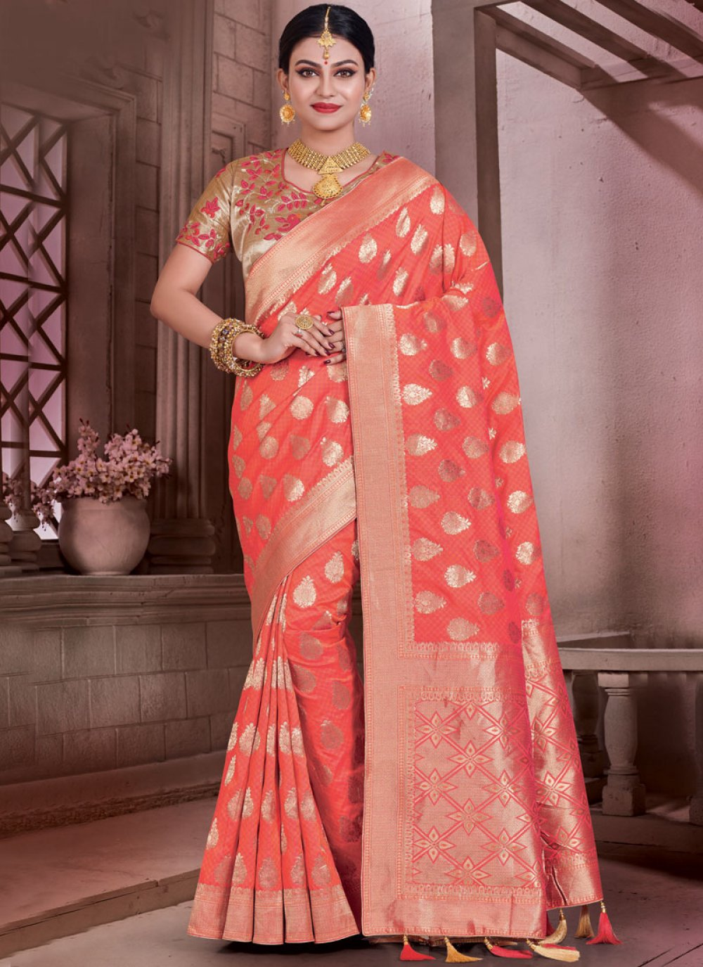 Art Silk Orange Traditional Designer Saree
