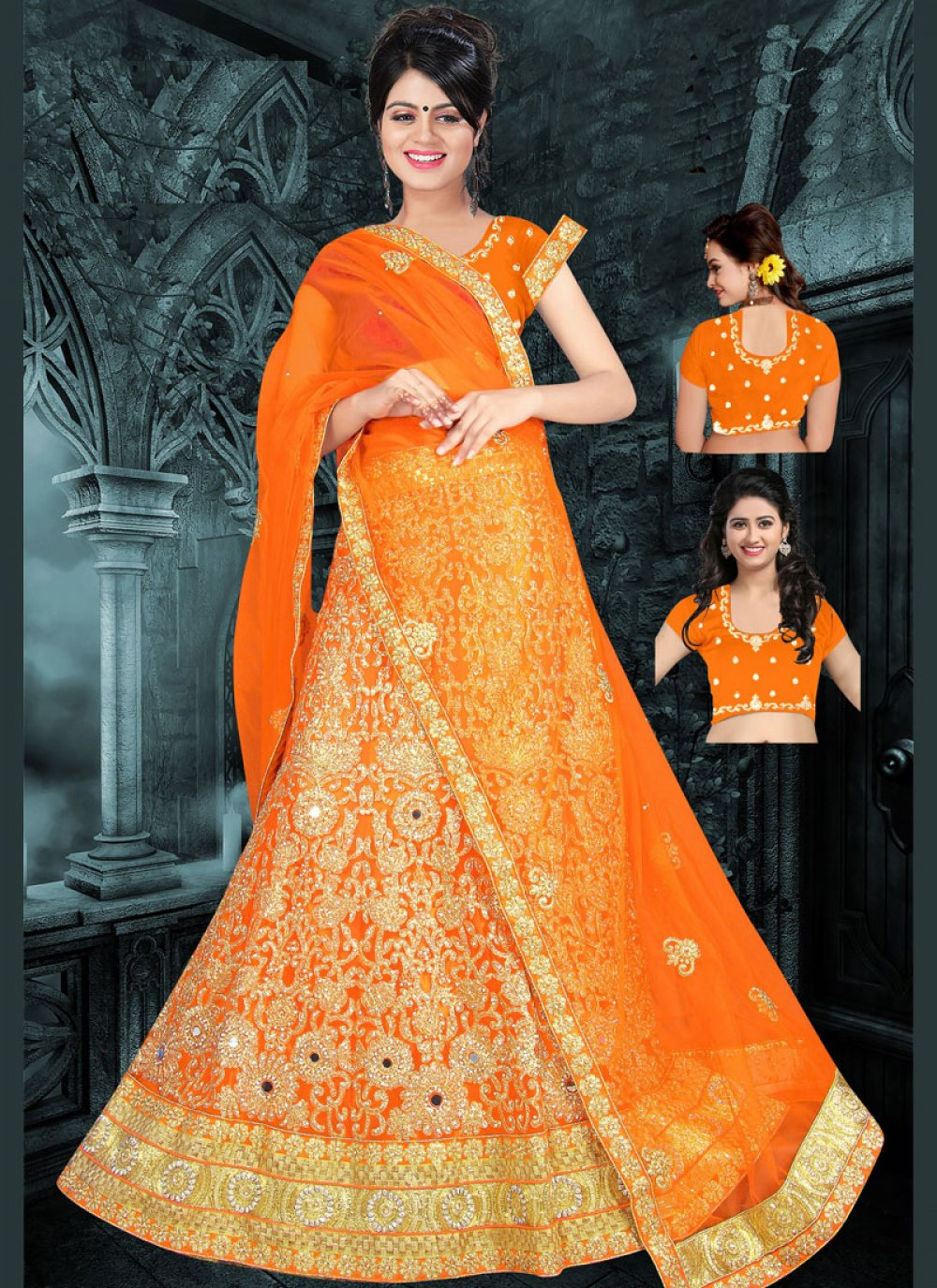 Art Silk Orange Zari Work Lehenga Choli