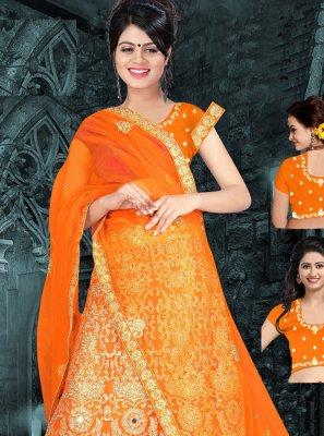 Art Silk Orange Zari Work Lehenga Choli