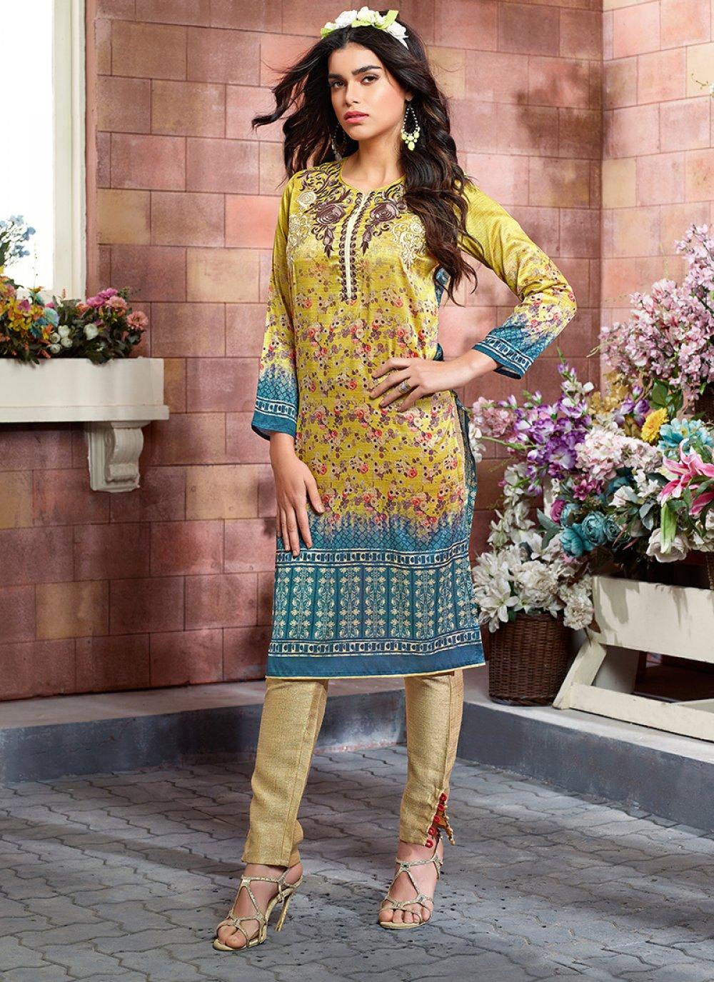 Art Silk Party Wear Kurti in Multi Colour
