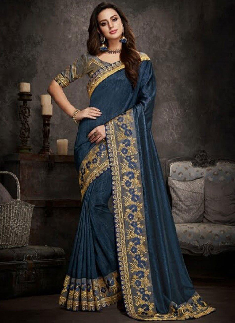 Art Silk Patch Border Blue Traditional Saree