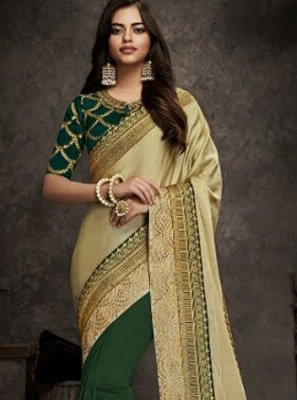 Art Silk Patch Border Half N Half  Saree