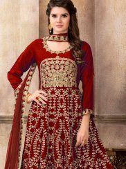 Art Silk Patch Border Maroon Floor Length Anarkali Suit