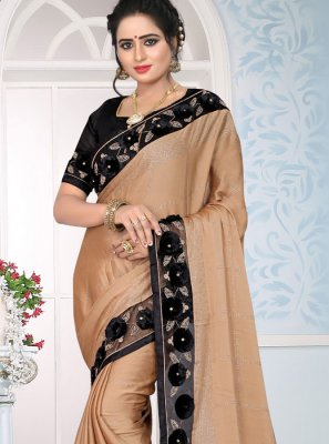 Art Silk Patch Border Peach Designer Traditional Saree