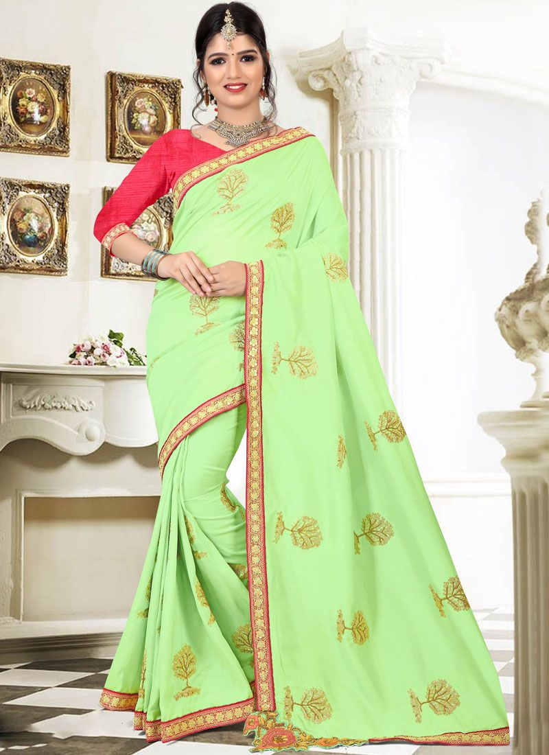 Art Silk Patch Border Work Traditional Designer Saree