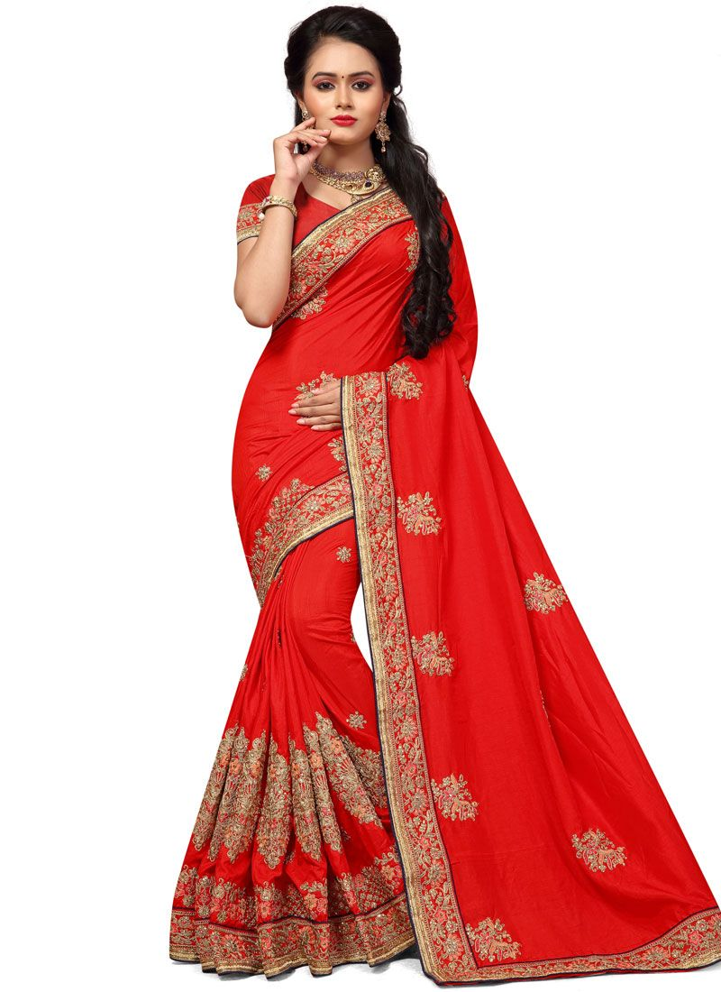 Art Silk Patch Border Work Traditional  Saree