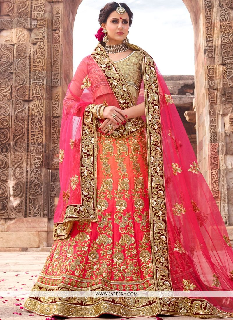 Art Silk Peach and Pink Lehenga Choli