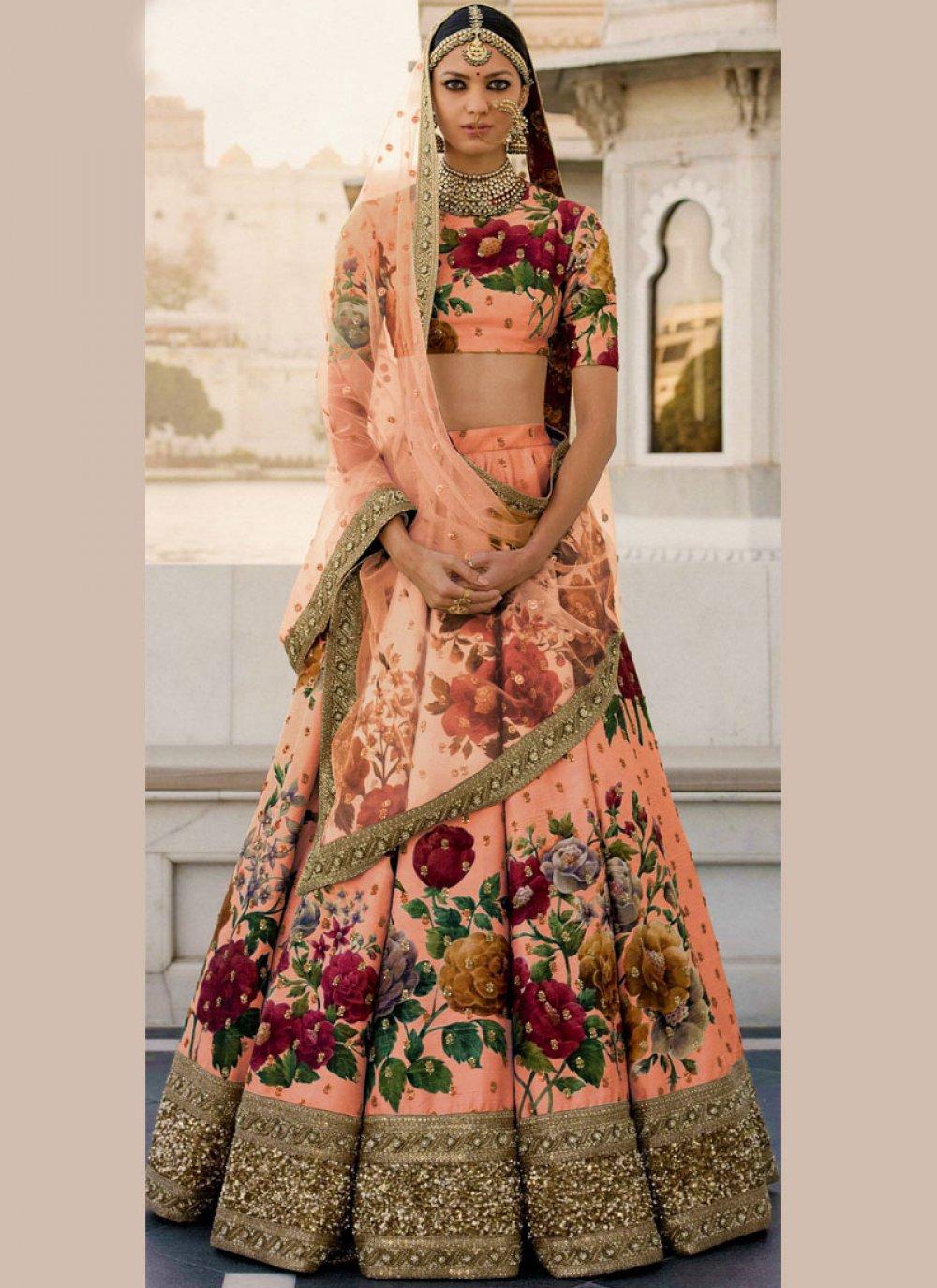 Art Silk Peach Designer Lehenga Choli