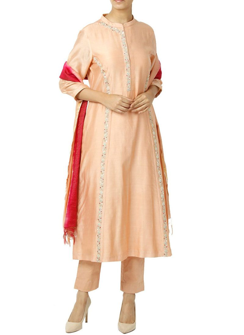 Art Silk Peach Designer Suit