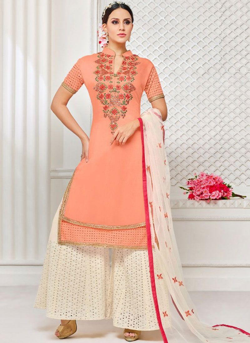Art Silk Peach Embroidered Work Designer Palazzo Suit