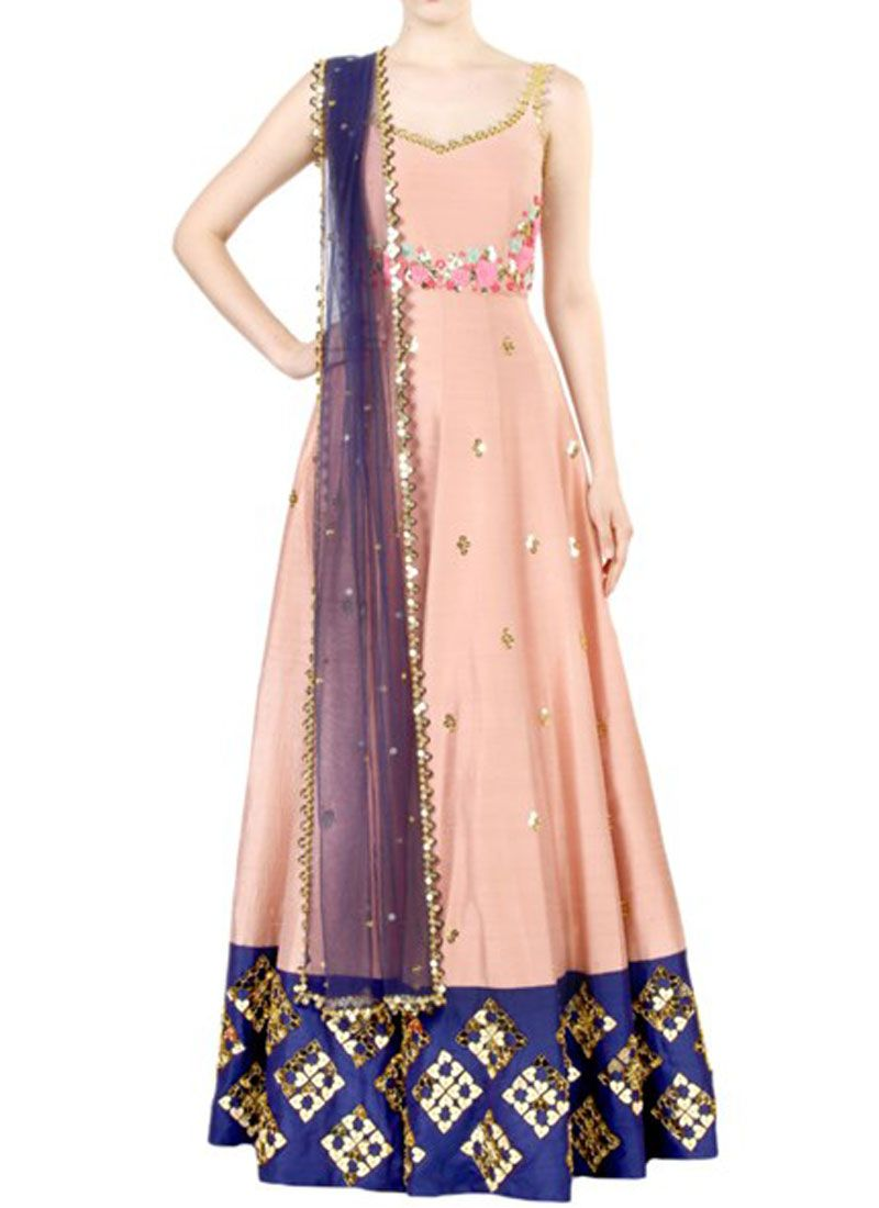 Art Silk Peach Embroidered Work Floor Length Anarkali Suit