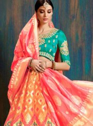 Art Silk Peach Lehenga Choli