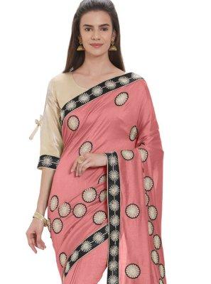 Art Silk Pink Casual Saree