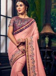 Art Silk Pink Embroidered Traditional Designer Saree