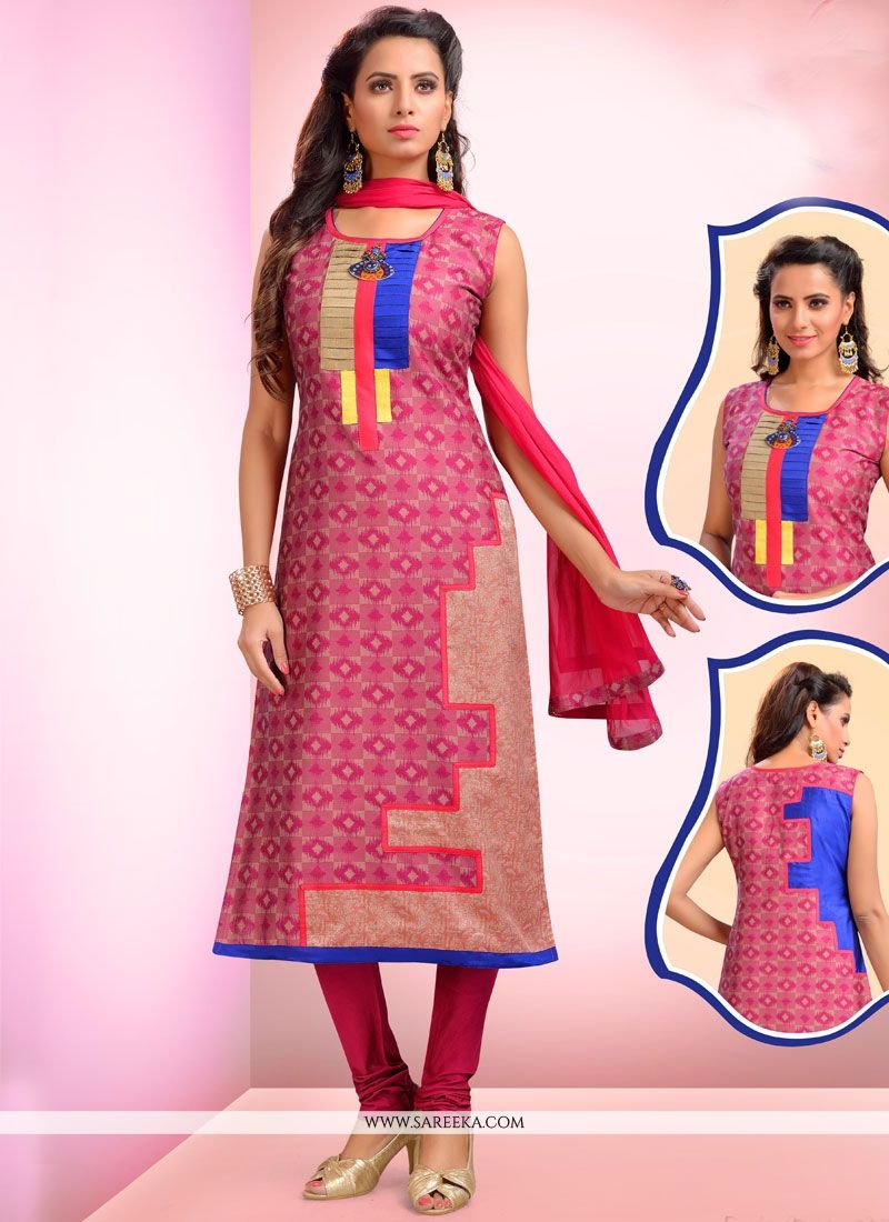 Art Silk Pink Embroidered Work Readymade Suit