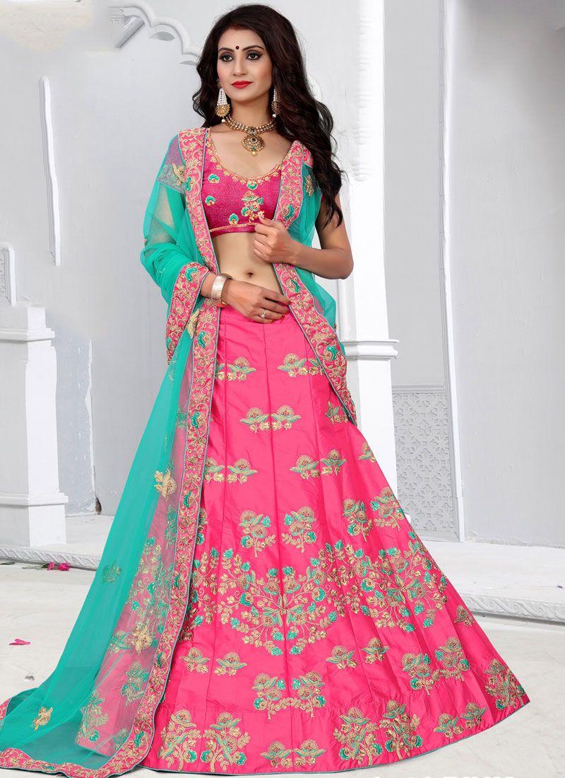 Art Silk Pink Lehenga Choli