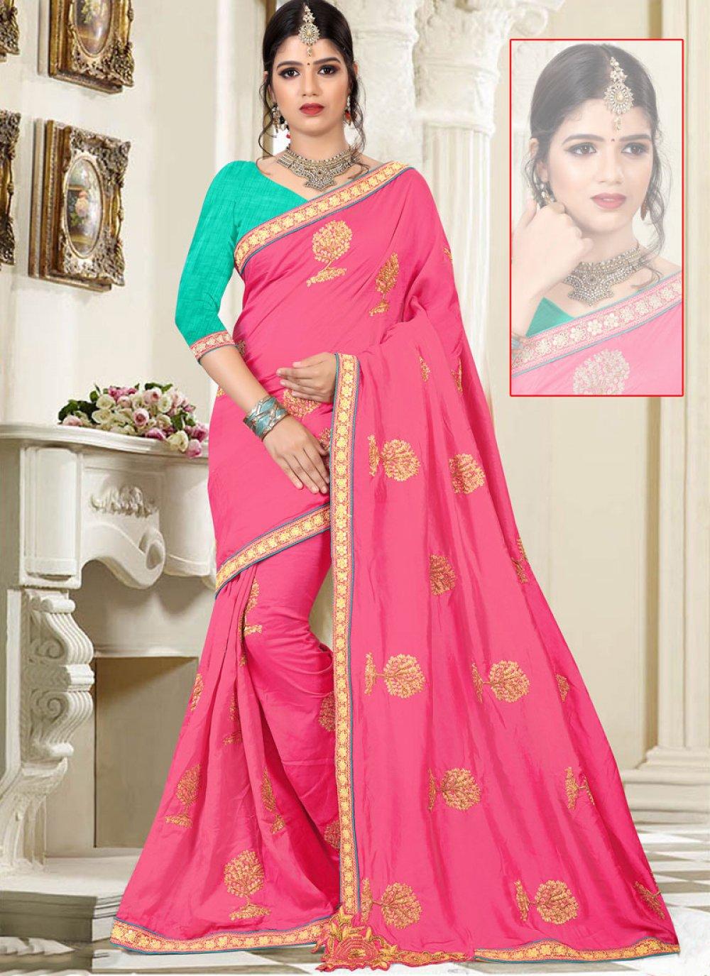 Art Silk Pink Resham Work Designer Traditional Saree