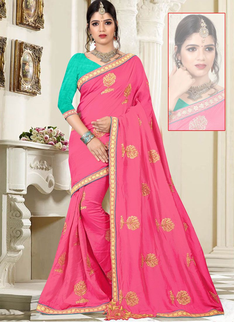 Art Silk Pink Resham Work Designer Traditional Saree
