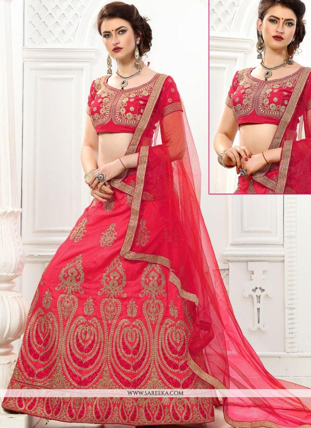 Art Silk Pink Resham Work Lehenga Choli