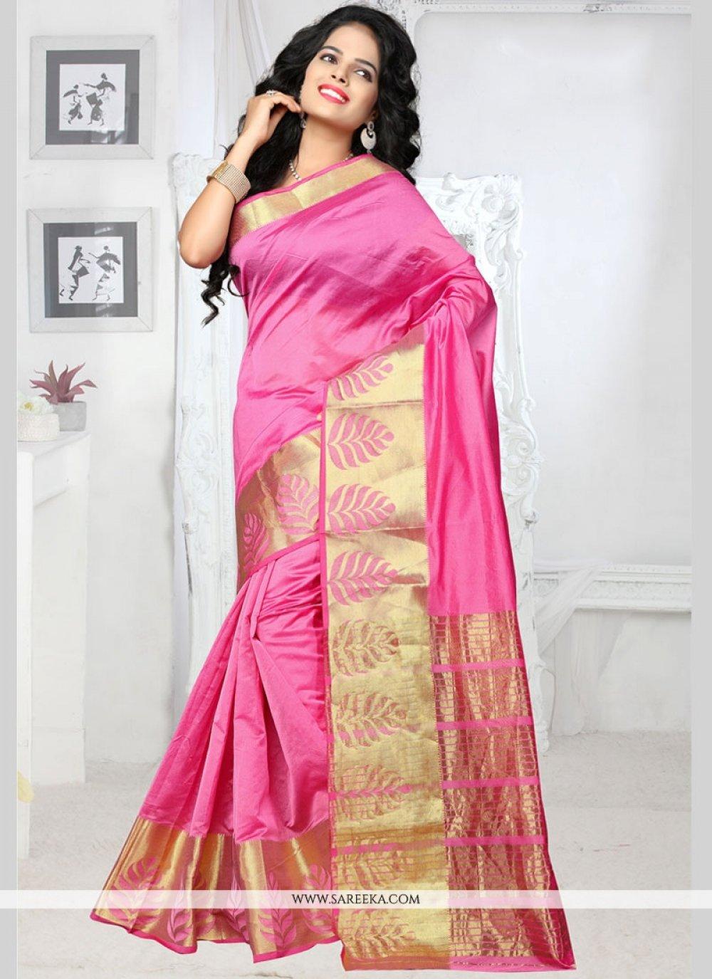 Art Silk Pink Traditional  Saree