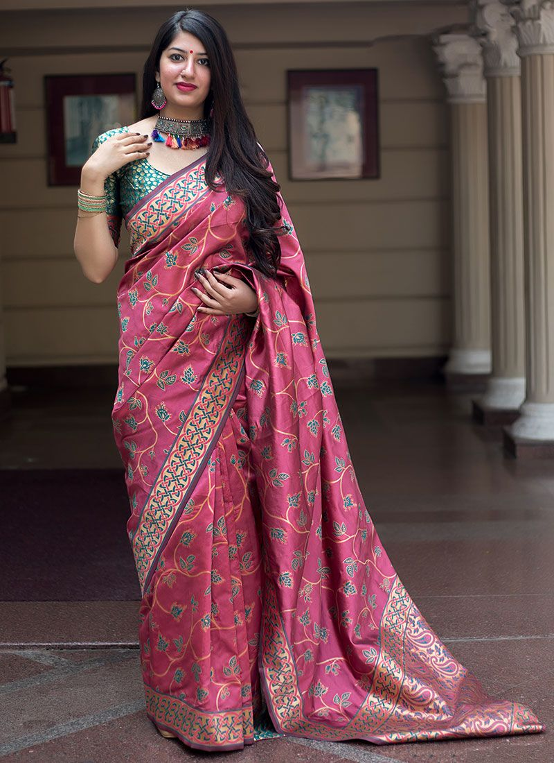 Art Silk Pink Weaving Designer Traditional Saree